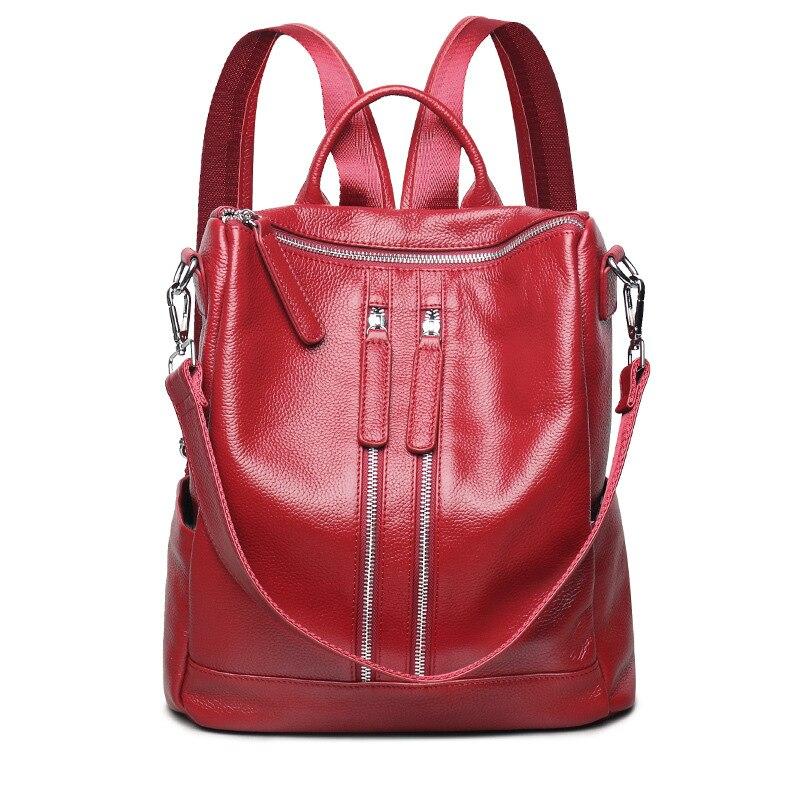 العلامة التجارية الفاخرة 100% جلد طبيعي النساء حقائب الظهر موضة جديدة الإناث الجلد الطبيعي الحقيقي السيدات فتاة طالب حقيبة ظهر عادية