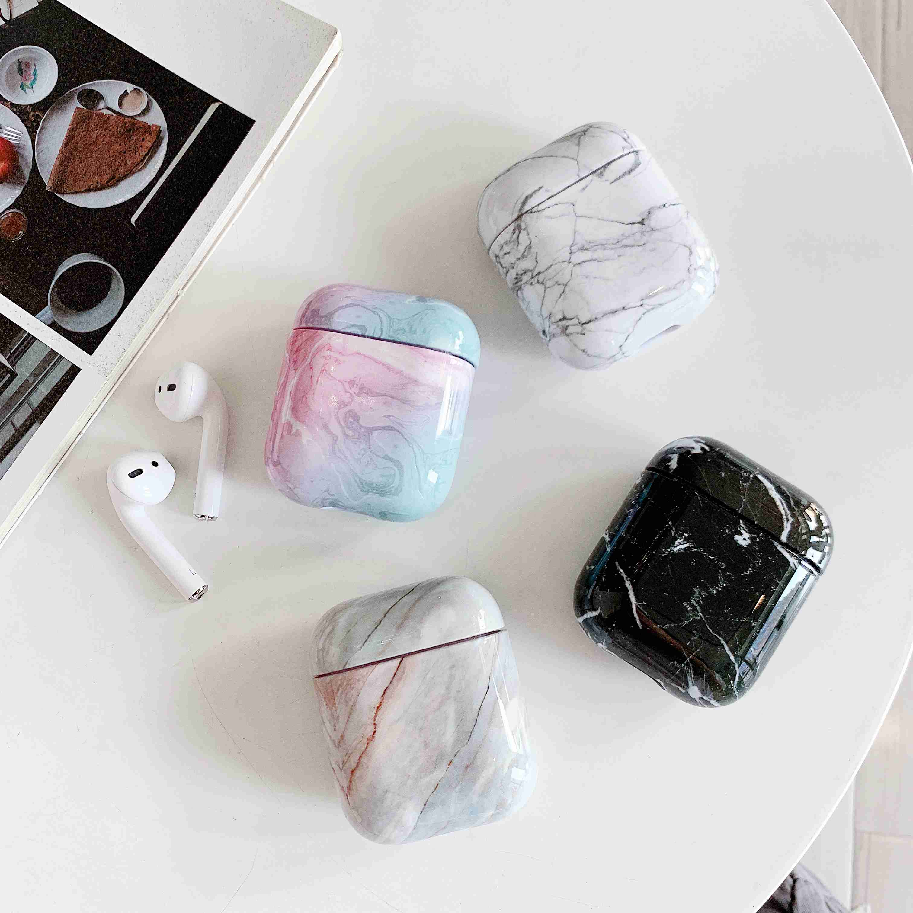 Funda para los Airpods de Apple Original funda de mármol funda bonita...
