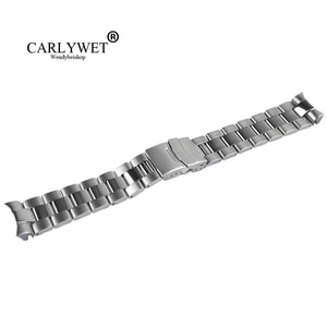CARLYWET 22mm Sliver Stainless Steel Wrist Watch band Replacement Metal Watchband Bracelet Double Push Clasp For Seiko