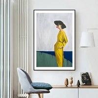Toile de femme jaune moderne de Style nordique  mode abstraite  peinture sur toile  affiches murales  images dart  decoration de salon  de maison