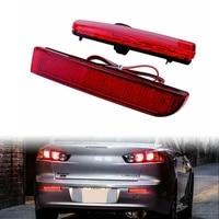 car red lens led bumper reflector brake lights lamps for mitsubishi lancer 2008 2014