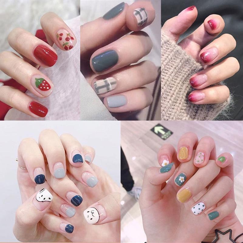 Bunte Falsche Nägel 24 Teile/satz Gefälschte Nagel Aufkleber Full Cover Nail art Charming Finger Drücken Auf Nägel Sarg