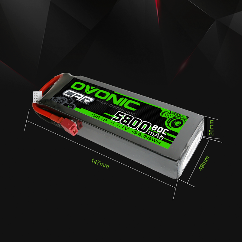 2 packs Ovonic lipo 80C 3S 5800mAh 11.1V LiPo Battery With Deans Plug For Car 1/10 Scale Car Boat enlarge