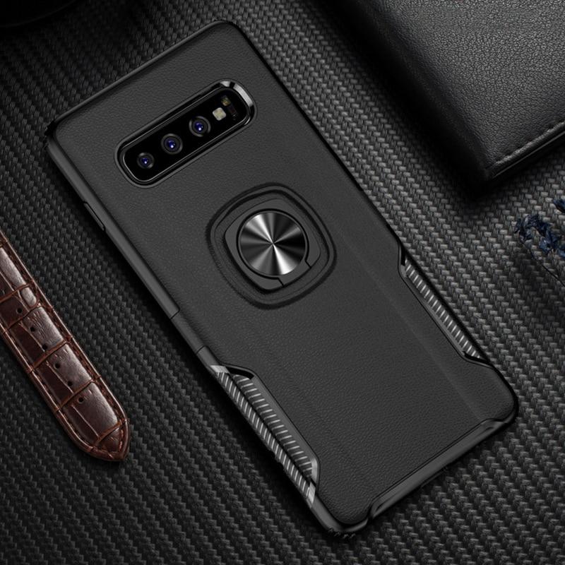 Funda de soporte de coche anillo de Metal para Samsung Galaxy S10 S8 S9 Note 10 S 10 E Plus funda trasera a prueba de golpes para Samsung S10Plus funda S8Plus
