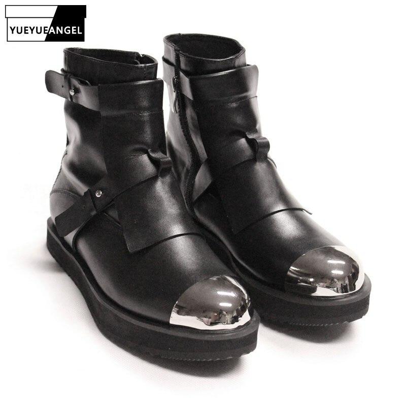 رجل الشتاء ميد الكعوب الصلب تو حذاء من الجلد موتور السائق أحذية الأشرطة الطبيعة جلدية المدرج الذكور عالية أعلى أحذية منصة