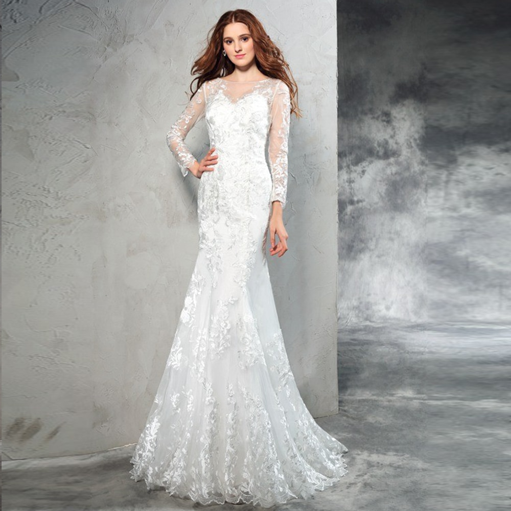 Promo Beautiful Mermaid Lace Wedding Dress With Illusion Long Sleeves Scoop Neck Sweep Train Floor Length Bridal Gowns Robe De Mariage