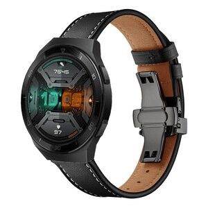 Leather straps For Huawei Watch GT 2E GT2 2 46MM/GT strap smart watch Wristband 22mm bracelet Butterfly Metal buckle For Gear S3