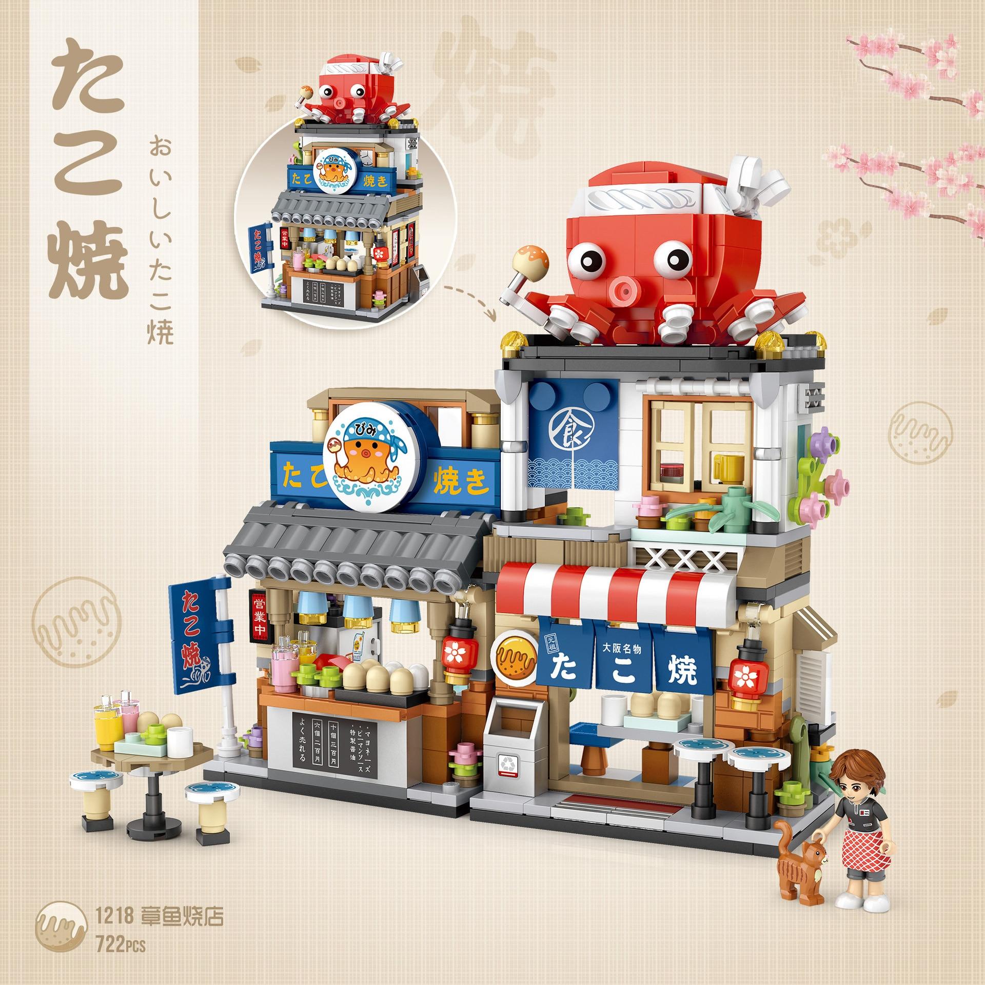 Japon ville rue vue mini bloc compote poulpe Restaurant bâtiment brique figure streetscape jouet éducatif pour enfants cadeau