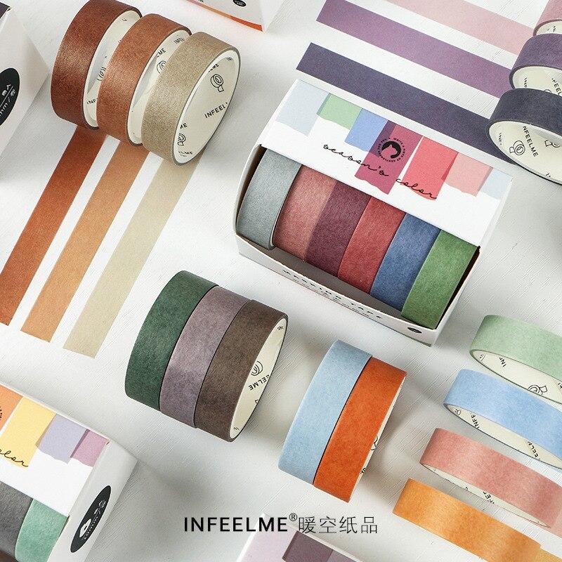 6 unidades/pacote cor sólida papel washi fita adesiva kawaii diy scrapbooking adesivo etiqueta bala jornaling deco mascaramento fitas