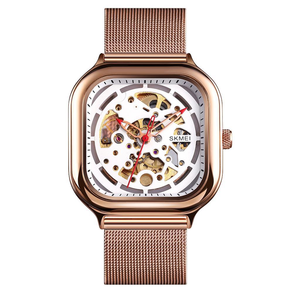 New 2021 Fashion Men's Mechanical Watch Brand SKMEI Luxury Quartz Watch Stainless Steel Men Wristwatch Waterproof Bracelet Clock