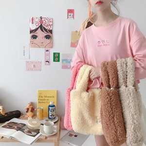 2020 new autumn and winter new plush pouch Japanese and Korean ins convenient female handbag college style lamb velvet hand bag