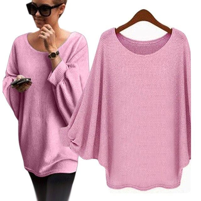 Suéter de mujer 2019 Otoño e Invierno jersey de talla grande de las mujeres con diseño murciélago oversize de punto flojo Pullover Sweater Jumper mujer 8