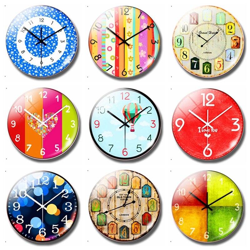 Reloj con diseño clásico de 30MM con imán para nevera, reloj de dibujos animados, adhesivos magnéticos con cabujón para nevera, soporte para notas, decoración del hogar