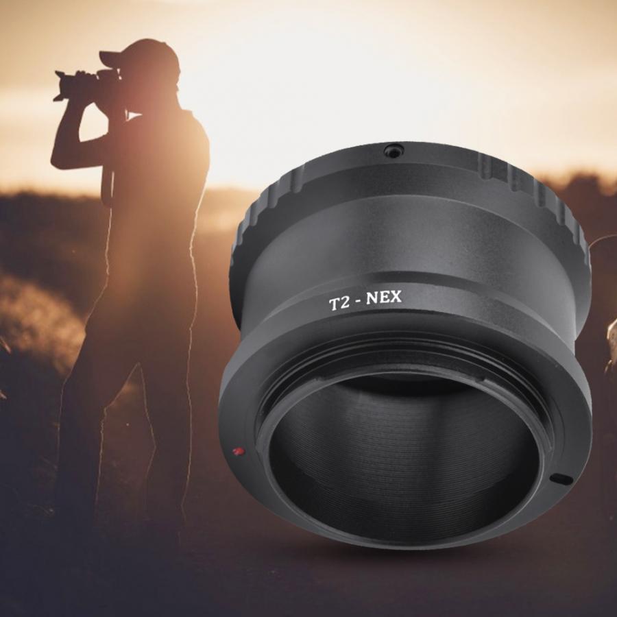 Adaptador de lente de Metal Manual de enfoque teleobjetivo anillo adaptador Para T2/T lente de montaje para SONY NEX E montaje cámara DSLR len
