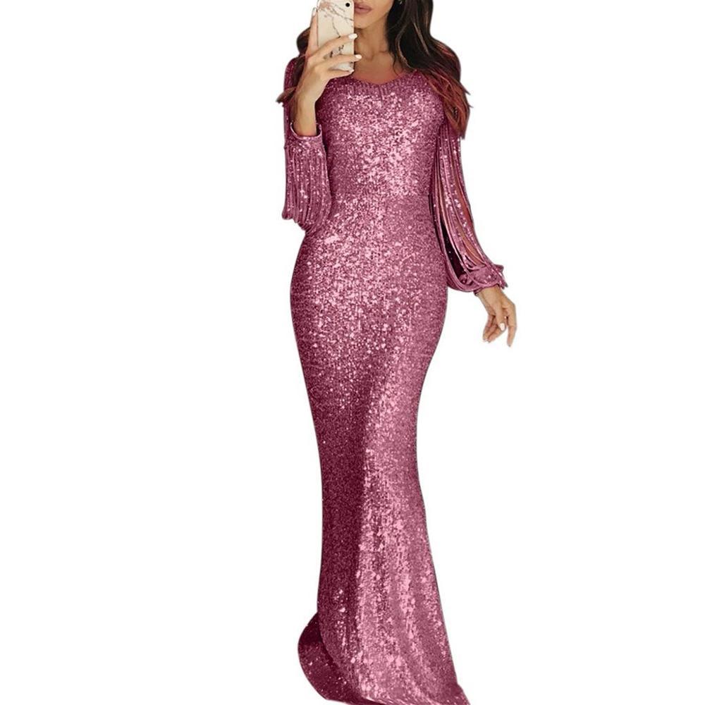 Vestido Sexy para mujer, ajustado, de Color sólido, con lentejuelas, vestidos al hombro, con encaje, manga larga, vestido de fregona, elegante para fiestas nocturnas para mujer
