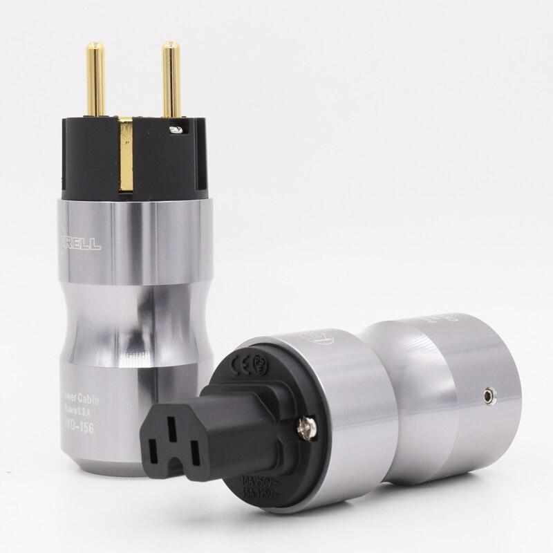 5Pairs 24K مطلية بالذهب أوروبا القياسية ذكر التيار الكهربائي قابس طاقة التيار المتردد الصوت HIFI الأوروبي Famale مأخذ التيار الكهربائي
