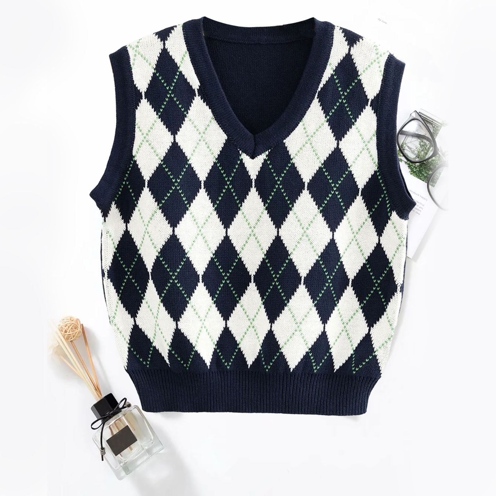 Women's Sweater New Women's Round Neck Diamond Check Sweater Top Sleeveless Vest blue crossed back design round neck sleeveless top