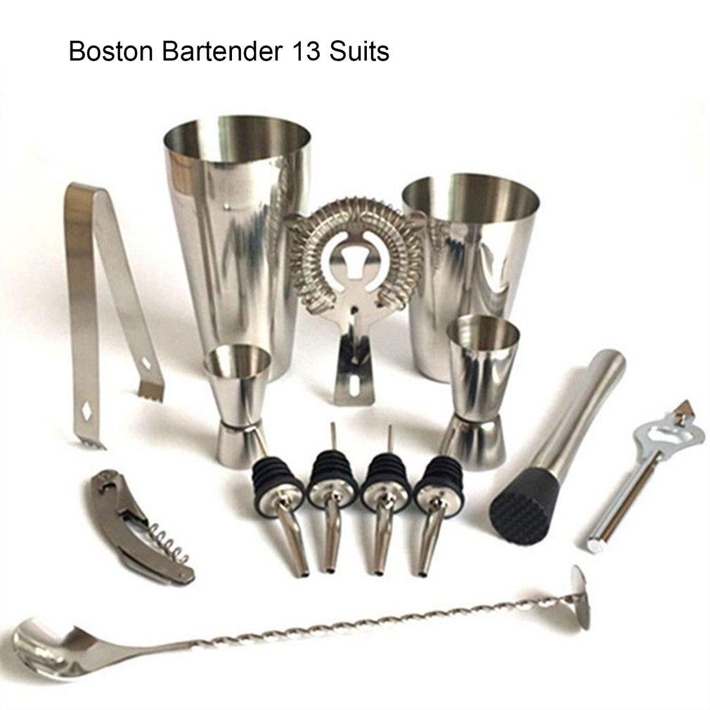 13pcs Stainless Steel Cocktail Shaker Mixer Wine Martini Boston Shaker Set Barware Kit For Bartender Drink Party Bar Tools