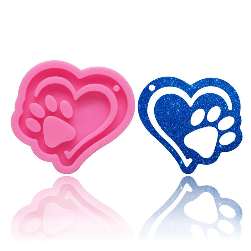 Модная блестящая силиконовая форма в форме розового сердца, Медвежья Лапа, силиконовая форма для «сделай сам», форма для брелока, инструмен...