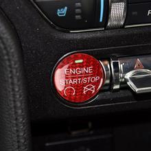 Car Handmade Carbon Fiber Engine Start Stop Button Sticker for Ford Mustang 2015 2016 2017 2018 2019