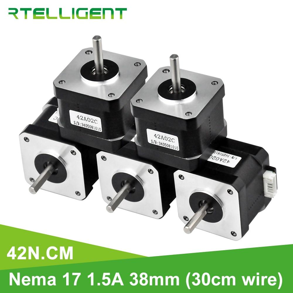 Rtelligent 5PCS 42N.cm Nema 17 Stepper Motor 38mm 42motor Nema17 42BYGH (59,5 unzen. in) stepper motor für 3D Drucker Druck XYZ