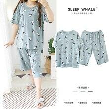 Japanese and Korean Fresh Penguin Short Sleeve Shorts Loose Pajamas Set Thin Pure Cotton Summer Fat