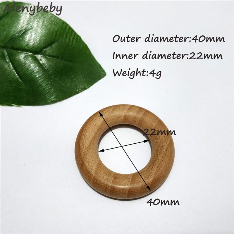 Naturaleza haya mordedor anillo de madera 40mm anillo de madera bebé bebés cuidado de la dentición producto DIY collar de mordedores de madera