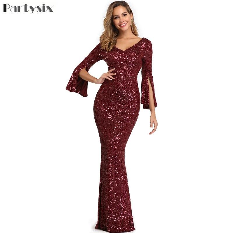 Vintage Burgund Evening Party Dress Long Sleeve Partysix Elegant Long Formal Sequins Dress