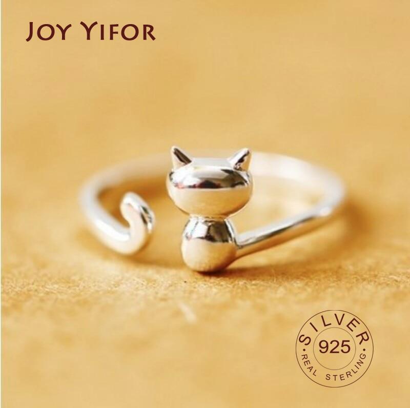 s925-Серебро-Кольца-для-женщин-2-cat-Форма-открытые-Регулируемые-кольца-Изысканные-ювелирные-изделия-не-вызывает-аллергию-ювелирные-изделия