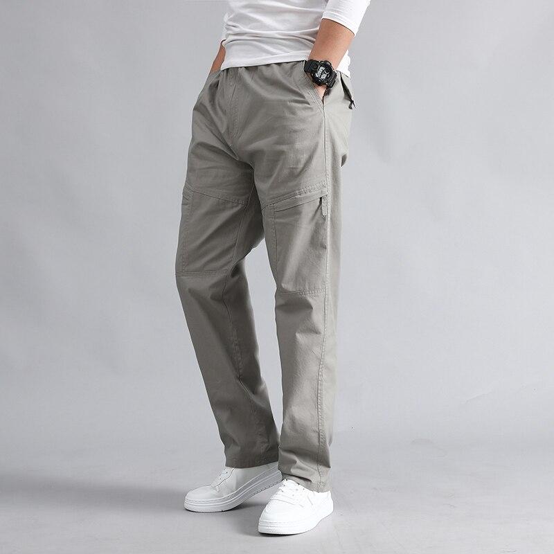 Pantalones largos informales de algodón para hombre, Pantalones rectos para correr de verano y otoño, moda para actividades al aire libre, pantalones holgados transpirables para hombre, talla grande 5XL
