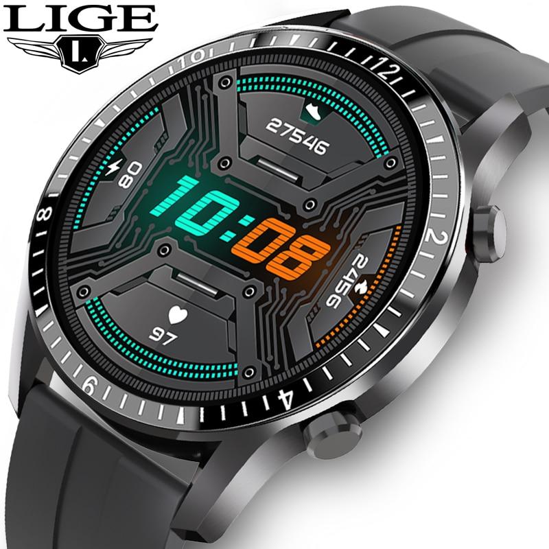 LIGE 2020 جديد ساعة ذكية الرجال كامل شاشة تعمل باللمس الرياضة اللياقة البدنية ساعة IP68 مقاوم للماء بلوتوث ل أندرويد ios smartwatch الرجال + صندوق