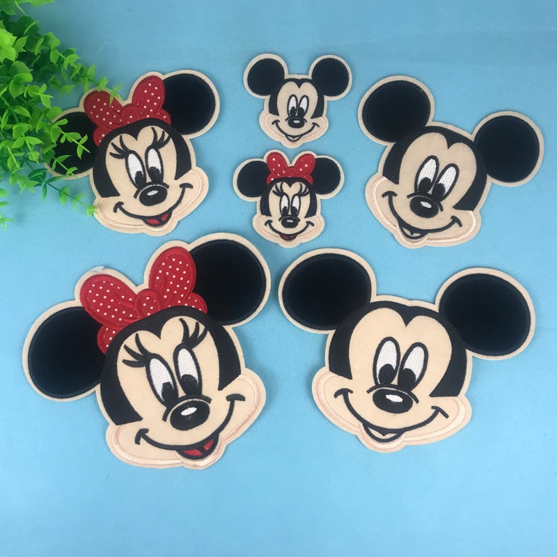 DZ 3 unids/set (1 Mudium + 1 Small), parches de Mickey Minnie para chaquetas, ropa Ion on Mouse, apliques bordados DIY