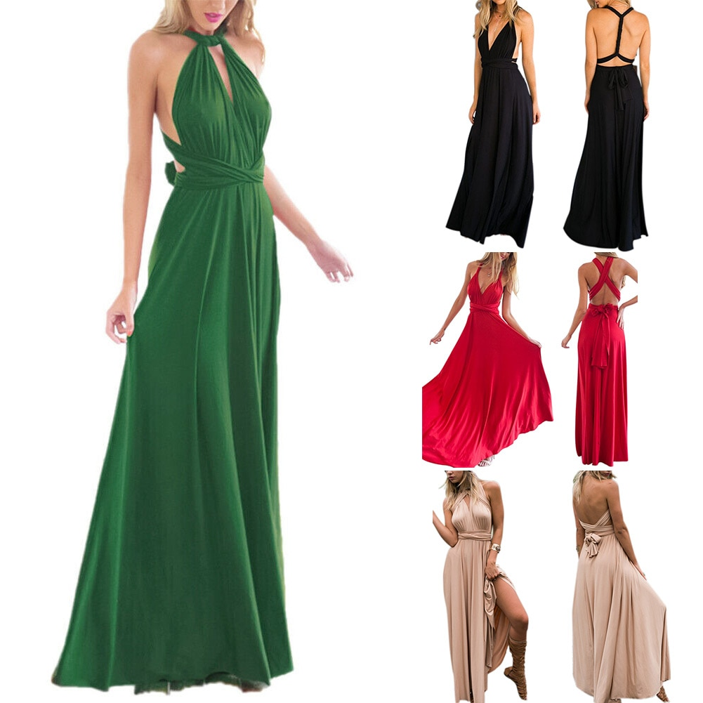 Women Evening Dress Multi Way Wear Bridesmaid Formal Backless Long Maxi Dress -OPK