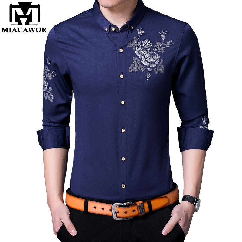 MIACAWOR Frühling Langarm Sozialen Shirts Herren Blume Drucken Casual Shirt Männer Taste Revers Hemd Slim Fit Chemise Homme C641