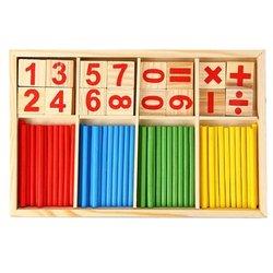 1set Montessori Holz Anzahl Math Game Sticks Mathematik Frühen Lernen Zählen Pädagogisches Spielzeug Kinder Kinder Geschenke