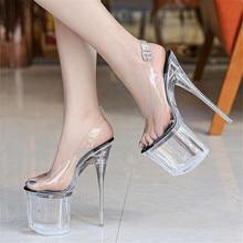 Woman Transparent Crystal 19CM Super High heel Sandals 9CM Platform Girl Beach Shoes Sexy Stripper Steel Pipe Dance Pumps