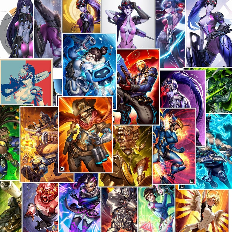 25Pcs School Sticky Notes Papelaria Game Overwatch Black Lily Stationery Sticker Waterproof