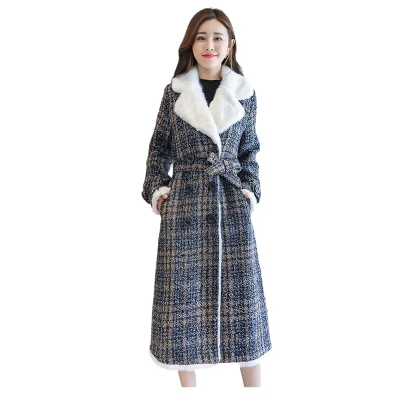 2021 Winter Plaid Cotton Jacket Slim Lamb Hair Loose Thickening Medium-Long Plaid Plush Coats Female Wool Abrigos Mujer Invierno