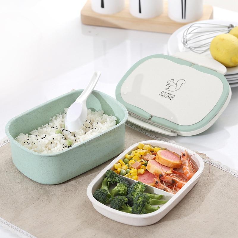 Fiambrera con aislamiento portátil, caja de almuerzo para estudiantes, versión coreana, bonito compartimento, tapa de doble capa de barril aislado de estilo japonés