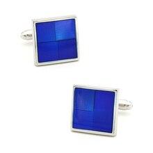 Boutons de manchette en émail pour hommes carrés à carreaux Design qualité en laiton matériau couleur bleue boutons de manchette vente en gros et au détail