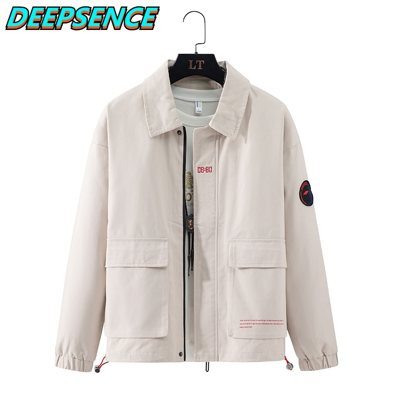 2021 Four Seasons Fashion Casual Jackt Men Korean Ins Solid Zipper Embroidery Standard Loose Fit Str