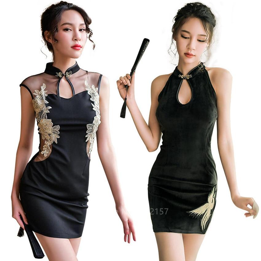 Girls Sexy Chinese Cheongsam Qipao Women Black Split Embroidery Vintage Dress Babydoll Lingerie with T-back Panties Sleepwear