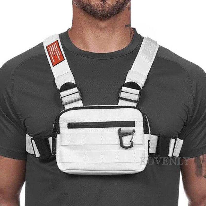 Novo equipamento de peito saco masculino função casual estilo ao ar livre saco de peito pequeno colete tático sacos streetwear para o sexo masculino sacos de cintura kanye