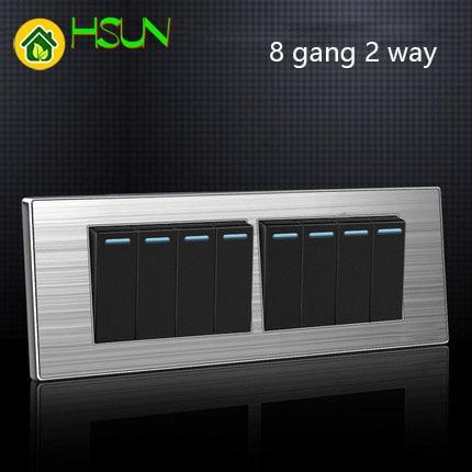 118 Тип светодиодный переключатель с случайными точками Бытовая нержавеющая сталь матовая панель 1 2 3 4 5 6 7 8 Gang 2 Way switch
