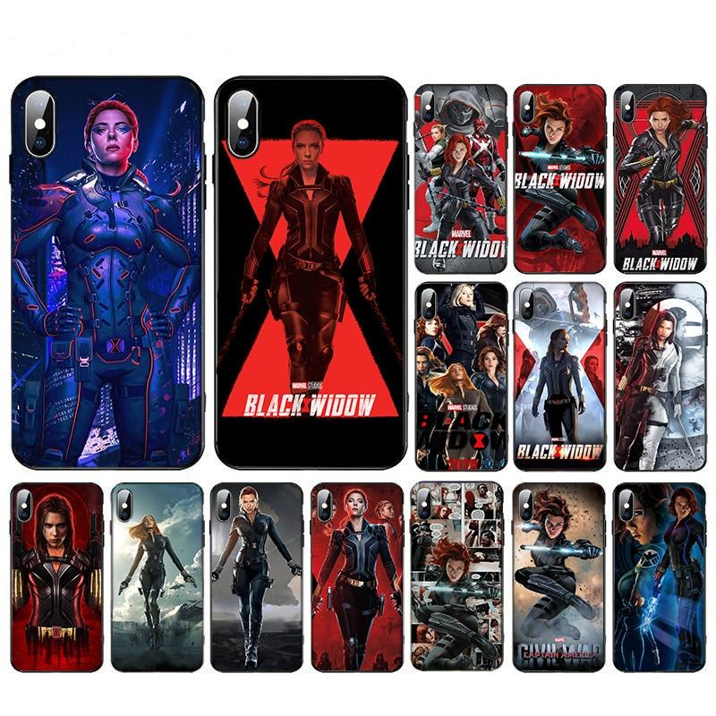 Funda de teléfono de TPU suave de Super héroe de Anime viuda negra para iphone XR X XS 11 pro max 6s 6 7 8 plus SE2020, carcasa 5S diseño moderno