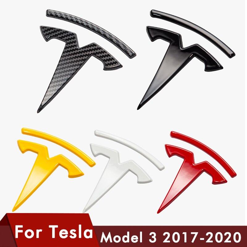 Logo For Tesla model 3 Front Logo Accessories Carbon Fiber ABS Model3 Car Front Rear Sticker Accessories Logo Model Three 2020