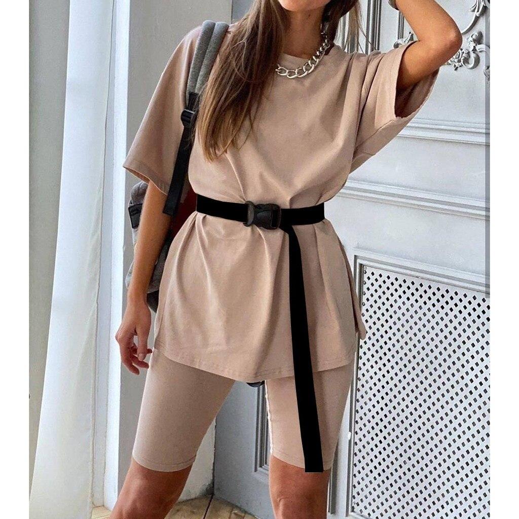 2020 pantalones de camisa para Mujer conjunto de dos piezas con cinturón hogar suelto deportes Casual traje de Mujer