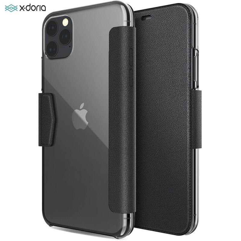 X-Doria Flip para iPhone 11 Pro Max de lujo de cuero PU participar Folio funda para teléfono para iPhone 11 cubierta construido en ranura para tarjeta