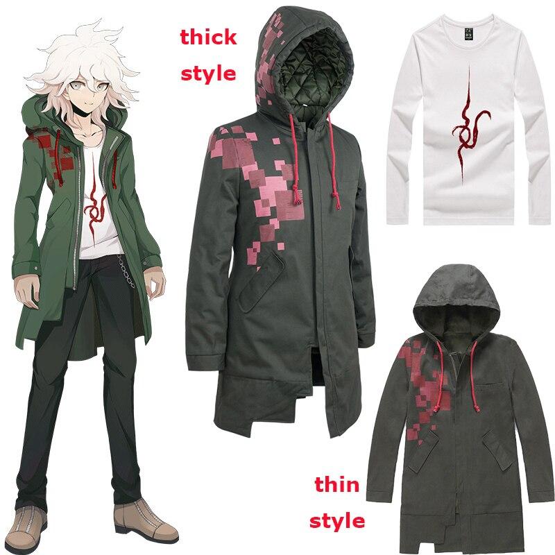 Danganronpa 2 Nagito Komaeda, gabardina de Cosplay, Sudadera con capucha de Color verde militar, Sudadera larga con capucha, chaqueta con capucha, disfraz de Halloween