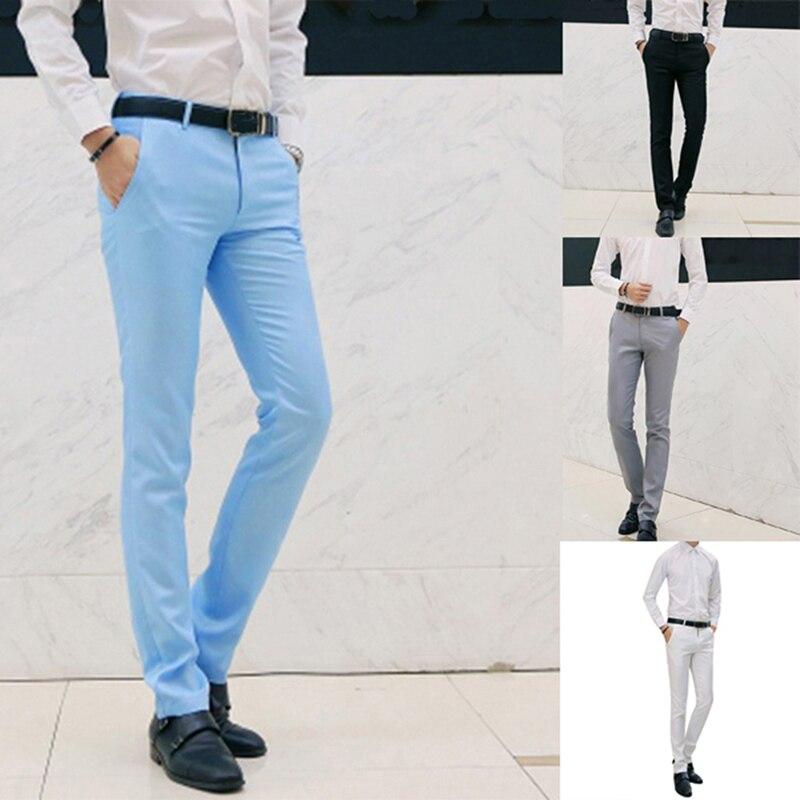 2020 мужские весенне-осенние модные деловые повседневные длинные брюки, мужские эластичные прямые формальные брюки больших размеров